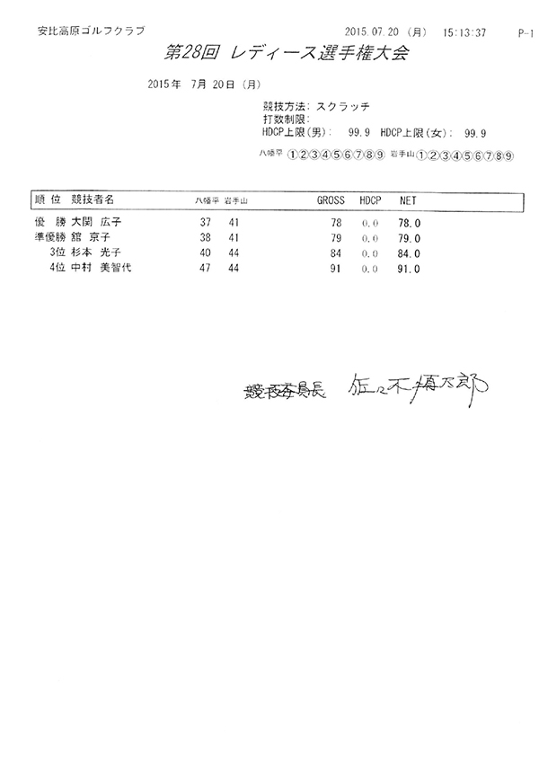平成27年度レディース選手権大会