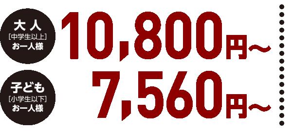 大人[中学生以上]お一人様/10,800円〜、子ども[小学生以下]お一人様/7,560円〜