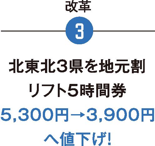 改革3/北東北3県を地元割リフト5時間券5,300円→3,900円へ値下げ!
